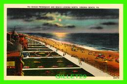 VIRGINIA BEACH, VA - OCEAN PROMENADE AND BEACH LOOKING NORTH - TRAVEL IN 1958 - PUB. BY VIRGINIA GIFT SHOP - - Virginia Beach
