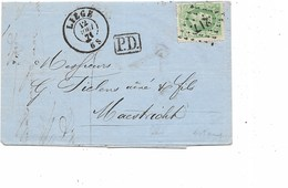 LE 0450. N° 30 Los Pts 217/LIEGE 12 AOÛT 71 S/LAC V. Maastricht (P-B) Au TARIF FRONTALIER (10c). TB - 1869-1883 Leopoldo II
