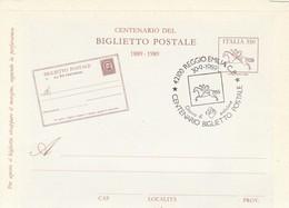 REGGIO EMILIA - CENTENARIO DEL BIGLIETTO POSTALE 1889-1989 - NUOVO CON ANNULLO - LEGGI - Buste