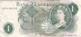 BILLET GREAT BRITAIN - ANGLETERRE - 1 POUND ELISABETH II En 1970 - 1977 Signature J.B Page @ PICK 374 Royaume Uni - 1 Pound