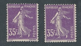 DI-224: FRANCE: Lot Avec  N°142b** (2) Type 2 - 1906-38 Semeuse Con Cameo