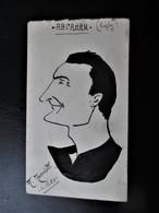 Dessin Encre De Chine CARICATURE_ABRAHAM _Joueur De RUGBY_signé Et Daté 1924 - Rugby