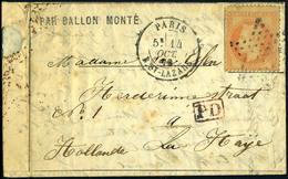 Lettre Jules Favre N°1, Obl  Paris St Lazare Du 14/10/70 Pour La Haye Pays-Bas, Au Verso Arrivée Le 18 Oct 70 + Cachet D - Non Classés