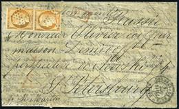 Lettre LE GARIBALDI, Paire Du 40c Obl Du 19 Oct 70 Pour St Petersbourg - Au Verso Cachet D'arrivée Très Belle Frappe Du  - Non Classés