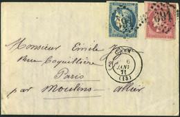 Lettre Boule De Moulins Affranchie à 20+80c Bordeaux De Caen 6/1/71 Pour Paris Sans Arrivée - Pli Avec Correspondance, T - Non Classés