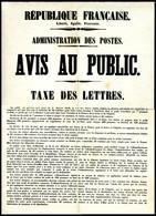 Affiche Originale De L'Administration Des Postes Prévenant Le Public De La Réforme Des Tarifs Postaux Et De L'utilisatio - Non Classés