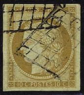 Oblitéré N° 1, 10c Bistre Jaune, T.B. Signé A Brun - Non Classés