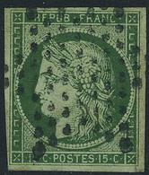 Oblitéré N° 2b, 15c Vert Foncé, Très Belle Nuance, T.B. Signé Calves - Non Classés