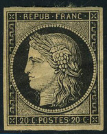 Neuf Avec Charnière N° 3, 20c Noir Forte Charnière + Pli De Gomme - Non Classés