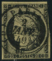 Oblitéré N° 3, 20c Noir Obl Centrale CàD 2 Janv 49 Belle Frappe, Timbre Légèrement Touché à Droite - Non Classés