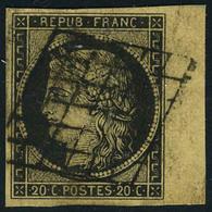 Oblitéré N° 3, 20c Noir S/chamois, Bdf, SUP - Non Classés
