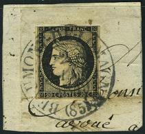 Fragment N° 3, 20c Noir Obl S/frgt Beaumont Du 2 Janv 49, Cachet Type 13 Très Belle Frappe, Filet Légèrement Touché En H - Non Classés