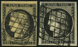 Oblitéré N° 3+3a, 20c Noir S/jaune + Noir S/blanc, TB - Non Classés