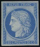 Neuf Avec Charnière N° 8f, 20c Bleu Type Cérès, Réimpression De 1862, Cl, T.B. - Non Classés