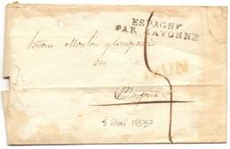 Marque Espagne Par Bayonne Sur Lettre De Yrun  Du 5 MAI 1837 Lettre Désinfectée (cf Scan) - Poststempel (Briefe)