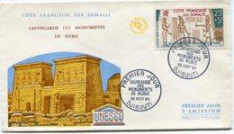 COTE FRANCAISE DES SOMALIS ENVELOPPE 1er JOUR DU PA 37 POUR LES MONUMENTS DE NUBIE DJIBOUTI 28 AOUT 64 - Côte Française Des Somalis (1894-1967)