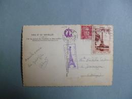 """PARIS  -  75  -  Timbre + Vignette + Cachet """" La Tour Eiffel """"   -  1946  - - Marcophilie (Lettres)"""