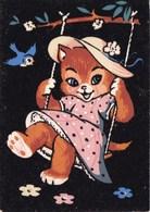 CARTE FEUTRINE PETIT CHAT SUR LA BALANCOIRE (dil441) - Animali Abbigliati