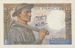 J25 - Billet 10 Francs Type MINEUR 1944 - 10 F 1941-1949 ''Mineur''