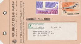 AIRPLANES - SAN MARINO - STORIA POSTALE - ETICHETTA PLICCO POSTALE - BELLISSIMA 1975 - LEGGI - Polar Philately