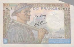 J25 - Billet 10 Francs Type MINEUR 1942 - 10 F 1941-1949 ''Mineur''