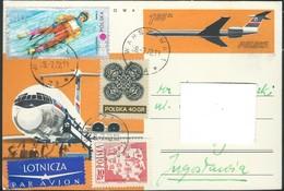 Poland > Stamped Stationery Postcard Motive Plane,- 1972 Via Yugoslavia,Macedonia - Nice Stamps - Entiers Postaux