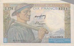 J25 - Billet 10 Francs Type MINEUR 1949 - 1871-1952 Antichi Franchi Circolanti Nel XX Secolo