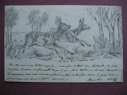 CPA DESSIN AU CRAYON Couple De CHEVREUILS EFFAROUCHES CHASSE CHEVREUIL écrite Par Un CHASSEUR En 1900 - Hunting