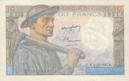 J25 - Billet 10 Francs Type MINEUR 1947 - 1871-1952 Antichi Franchi Circolanti Nel XX Secolo