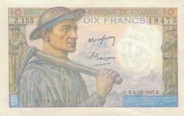 J25 - Billet 10 Francs Type MINEUR 1947 - 10 F 1941-1949 ''Mineur''