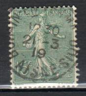 Semeuse Lignée 15c Olive Type IV N° Maury 130 IV Oblitéré Cachet A3 Bohain En Vermandois - 1903-60 Säerin, Untergrund Schraffiert