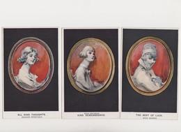 """3 Cpa Fantaisie Dessinées  / Portrait De Femme Dans Un Médaillon .""""Artistique """"Series - Femmes"""