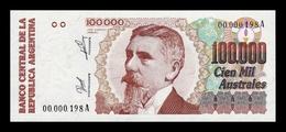 Argentina 100000 Pesos 1990 Pick 336 Serie A Low Serial Nº 198 SC UNC - Argentina