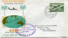 """COCOS ISLANDS ENVELOPPE 1er JOUR PAR AVION QANTAS...AVEC CACHET """"AUSTRALIAN FIRST ISSUE COCOS.."""" DEPART COCOS..11 JE 63 - Cocos (Keeling) Islands"""