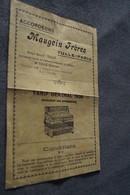 Ancienne Publicité Pour L'accordéon Maugein Frères,Tulle - Paris,ancien Tarif 1938 ,original,21 Cm Sur 14 Cm. - Publicités