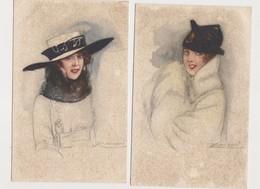 5 Cpa Fantaisie Dessinées Signées Mauzan / Jeunes Femmes , Mode , Chapeaux - Mauzan, L.A.