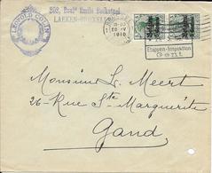 Lettre Belgique Zone Des étapes 1916 Censure Censor Geoffnet Examiner Censura War - Poststempel (Briefe)