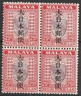Malaisie Negri Sembilan 1942 N° 59 NMH Armoiries  Occupation Japonaise Bloc De Quatre (afp12) - Negri Sembilan