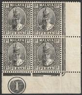 Malaisie Pérak 1942 N° 35 MH Sultan Iskandar Occupation Japonaise Bloc De Quatre (afp12) - Perak