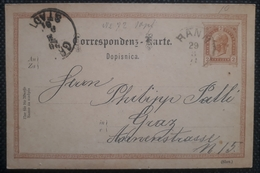 Kaiserreich 1891, Postkarte RANN Gelaufen GRAZ - Slovenia