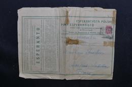 RUSSIE / POLOGNE - Affranchissement Plaisant Sur Document Espéranto De Warszawa En 1912 Pour La France - L 51550 - Brieven En Documenten