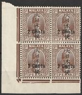 Malaisie Pérak 1942 N° 38 MH Sultan Iskandar Occupation Japonaise Bloc De Quatre (afp12) - Perak
