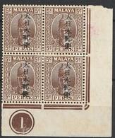Malaisie Pérak 1942 N° 40 Gomme Altérée Sultan Iskandar Occupation Japonaise Bloc De Quatre (afp12) - Perak