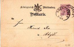 "(L) Württemberg Amtl. Ganzsachen-Postkarte ""Königreich Württemberg"" P 22, 5 Pf, Violett, Gel. 12.Jul.80 REUTLINGEN - Wuerttemberg"