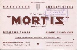 BUVARD BLOTTING PAPER RATICIDE INSECTICIDE MORTIS MONTREUIL/S BOIS 93 SEINE ST. DENIS CACHET COMMERCE MARTIGNE-FERCHAUD - Produits Pharmaceutiques