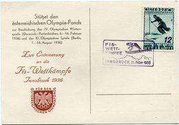 AUTRICHE CARTE POSTALE INNSBRUCK 1936 AVEC OBLITERATION FLAMME FIS-WETT-KAMPFE INNSBRUCK 21 FEBER 1936 - Winter 1936: Garmisch-Partenkirchen
