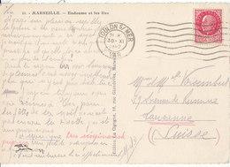 Pétain N° 519 Sur Carte Postale De 1942 De Marseille Pour La Suisse , 2 Scans - Marcofilia (sobres)