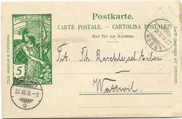 57 - 58 - Entier Postal Avec Cachets à Date Arbon Et Wattwyl 1900 - Entiers Postaux