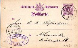 "(L) Württemberg Amtl. Ganzsachen-Postkarte ""Königreich Württemberg"" P 30b, 5 Pf, Hellviolett, Gel. 3.DEZ.89 ULM - Wuerttemberg"