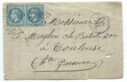 VARIETE N° 29 BLEU NAPOLEON MAZAMET TARN POUR TOULOUSE / 1870 / DEVANT DE LETTRE - Postmark Collection (Covers)